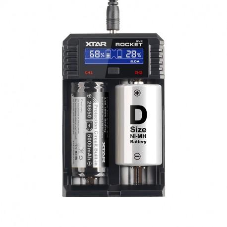XTAR Rocket SV2 Chargeur rapide 2 batteries Li-ion / Ni-MH / Ni-CD